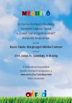 Meghívó az Ovi-Foci Közhasznú Alapítvány Családi napjára – 2014